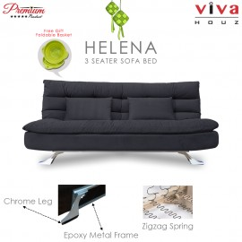 RAYA HOT SELLING : Viva Houz Helena 3 Seater Sofa Bed / Sofa, Full Fabric Removable Cover (Dark Grey)