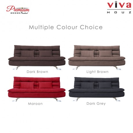 RAYA HOT SELLING : Viva Houz Helena 3 Seater Sofa Bed / Sofa, Full Fabric Removable Cover (Maroon)