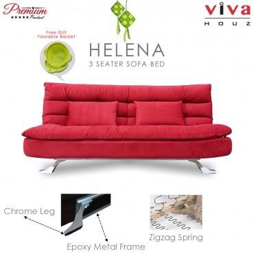 RAYA HOT SELLING : Viva Houz Helena 3 Seater Sofa Bed / Sofa, Full Fabric Removable Cover (Maroon)