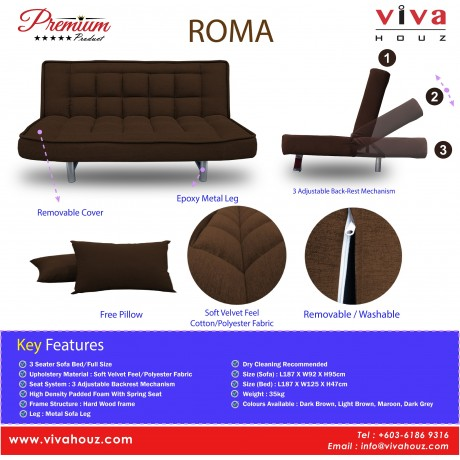 Viva Houz ROMA 3 Seater Sofa Bed, Sofa, Bed, Full Fabric With Removable Cover (Dark Grey)