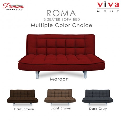 RAYA HOT SELLING : Viva Houz ROMA 3 Seater Sofa Bed, Sofa, Bed, Full Fabric With Removable Cover (Light Brown)