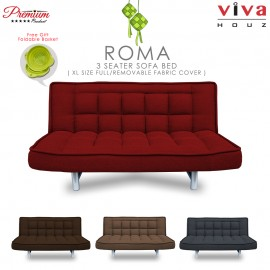 RAYA HOT SELLING : Viva Houz ROMA 3 Seater Sofa Bed, Sofa, Bed, Full Fabric With Removable Cover (Maroon)