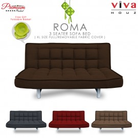 RAYA HOT SELLING : Viva Houz ROMA 3 Seater Sofa Bed, Sofa, Bed, Full Fabric With Removable Cover (Dark Brown)