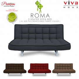 RAYA HOT SELLING : Viva Houz ROMA 3 Seater Sofa Bed, Sofa, Bed, Full Fabric With Removable Cover (Dark Grey)