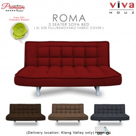 Viva Houz ROMA 3 Seater Sofa Bed, Sofa, Bed, Full Fabric With Removable Cover (Maroon)