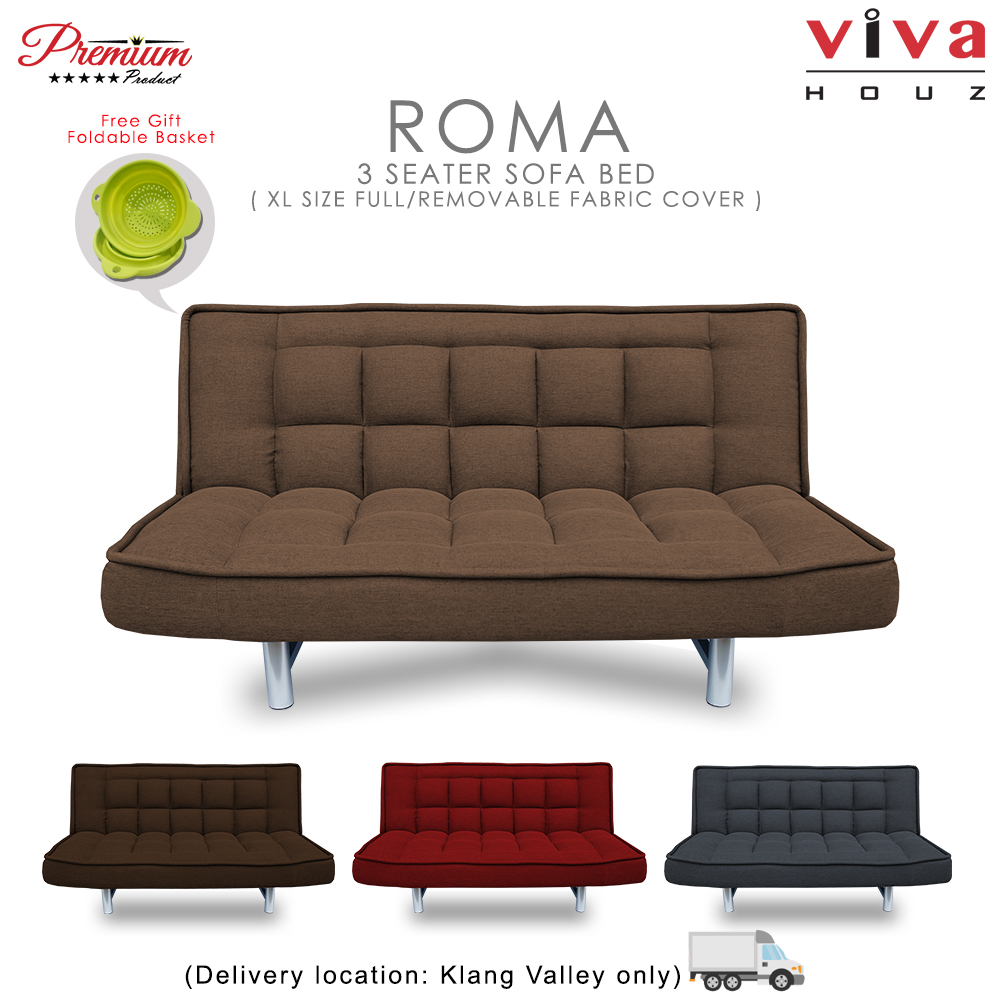 Viva Houz ROMA 3 Seater Sofa Bed, Sofa, Bed, Full Fabric With Removable Cover (Light Brown)