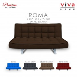 Viva Houz ROMA 3 Seater Sofa Bed, Sofa, Bed, Full Fabric With Removable Cover (Dark Brown)