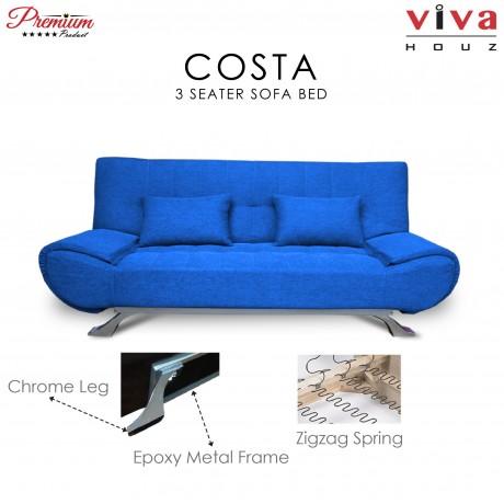 Viva Houz COSTA 3 Seater Sofa Bed, Sofa, Bed (Blue)