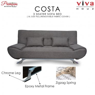 Viva Houz COSTA 3 Seater Sofa Bed, Sofa, Bed  (Brown)