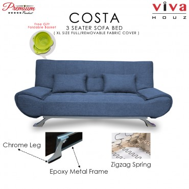 RAYA HOT SELLING : Viva Houz COSTA 3 Seater Sofa Bed, Sofa, Bed, Full Fabric With Removable Cover (Blue)