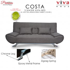 RAYA HOT SELLING : Viva Houz COSTA 3 Seater Sofa Bed, Sofa, Bed, Full Fabric With Removable Cover (Brown)