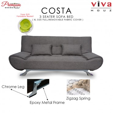 Viva Houz COSTA 3 Seater Sofa Bed, Sofa, Bed, Full Fabric With Removable Cover (Brown)