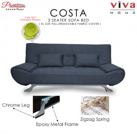 RAYA HOT SELLING : Viva Houz COSTA 3 Seater Sofa Bed, Sofa, Bed, Full Fabric With Removable Cover (Grey)