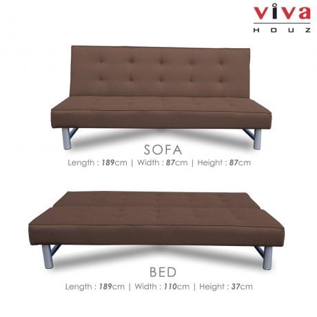 Viva Houz Harley 3 Seater Sofa Bed / Sofa, Full Fabric Cover (Classic Brown)