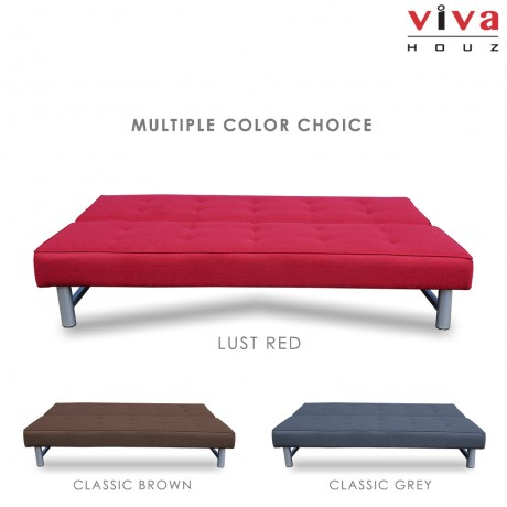 Viva Houz Harley 3 Seater Sofa Bed / Sofa, Full Fabric Cover (Lust Red)