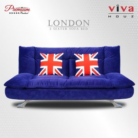 Viva Houz London 3 Seater Sofa, Sofa Bed,Full Navy Blue Velvet Fabric Cover