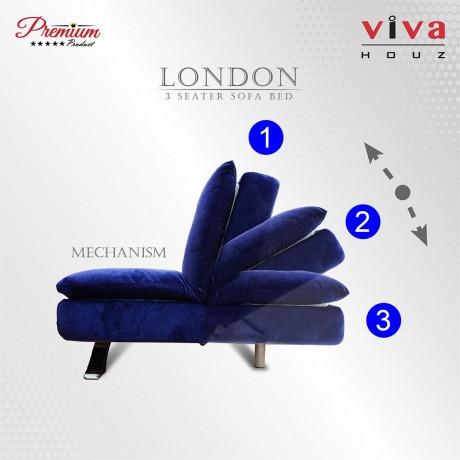 Viva Houz London 3 Seater Sofa, Sofa Bed,Full Navy Blue Velvet Fabric Cover