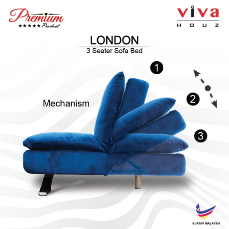 Viva Houz London Premium Quality Sofa Bed  3 Seater Sofa Blue Made In Malaysia