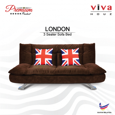Viva Houz London Premium Quality Sofa Bed  3 Seater Sofa Dark Brown Made In Malaysia