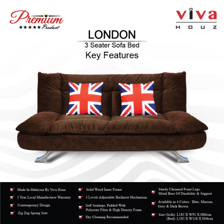 Viva Houz London Premium Quality Sofa Bed  3 Seater Sofa Dark Brown Made In Malaysia