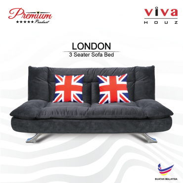 Viva Houz London Premium Quality Sofa Bed  3 Seater Sofa Grey Made In Malaysia