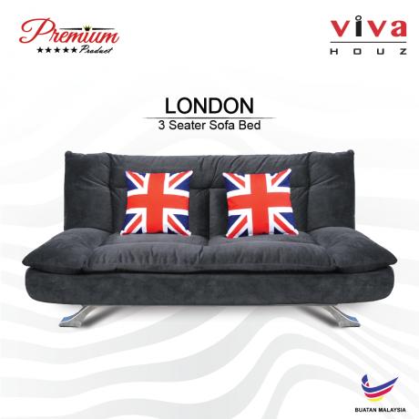 Viva Houz London Premium Quality Sofa Bed  3 Seater Sofa Grey Made In Malaysia