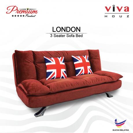 Viva Houz London Premium Quality Sofa Bed  3 Seater Sofa Maroon Made In Malaysia