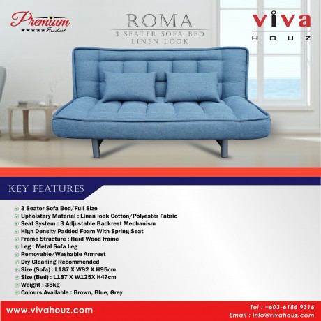 Viva Houz ROMA 3 Seater Sofa Bed, Sofa, Bed, Linen Look Full Fabric With Removable Cover (Classics Blue)