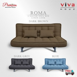 Viva Houz ROMA 3 Seater Sofa Bed, Sofa, Bed, Linen Look Full Fabric With Removable Cover (Dark Brown)