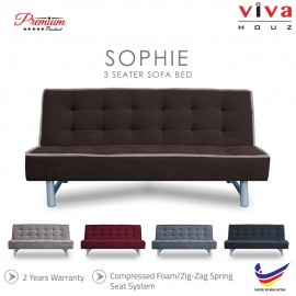 Viva Houz Sophie 3 Seater Sofa Bed / Sofa, Full Fabric Cover, Made In Malaysia, 2 Years Warranty (Brown)