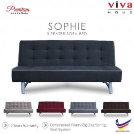 Viva Houz Sophie 3 Seater Sofa Bed / Sofa, Full Fabric Cover, Made In Malaysia, 2 Years Warranty (Dark Grey)