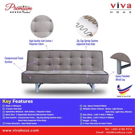 Viva Houz Sophie 3 Seater Sofa Bed / Sofa, Full Fabric Cover, Made In Malaysia, 2 Years Warranty (Light Brown)