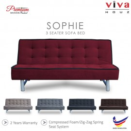 Viva Houz Sophie 3 Seater Sofa Bed / Sofa, Full Fabric Cover, Made In Malaysia, 2 Years Warranty (Maroon)