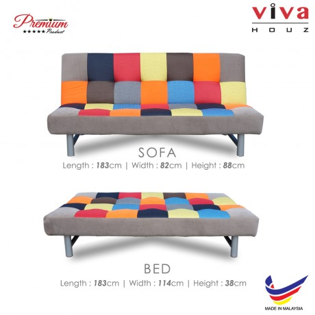 Viva Houz Zico 3 Seater Sofa Bed / Sofa, Full Fabric Mix & Match Cover, 2 Years Warranty