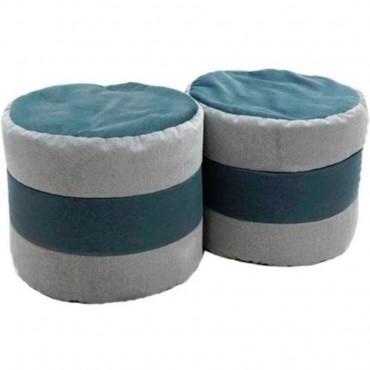 VIVA HOUZ - SAVANA 2 Tone Round Bean Stool, Set of 2 (Grey)