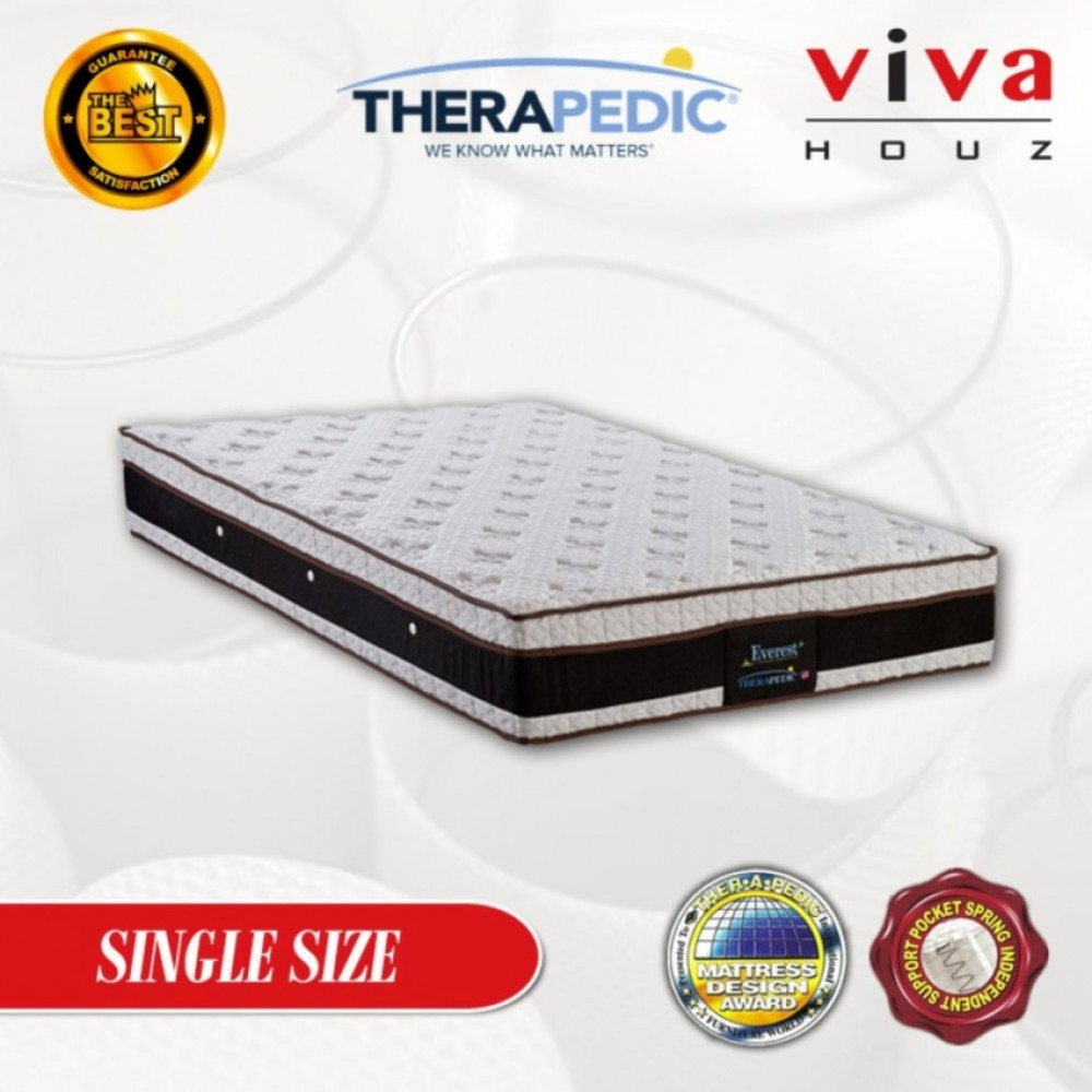 Therapedic, USA, Everest  5 Zones Pocketed Spring Luxurious Mattress, 28cm / 11'' Thick (Super Single)