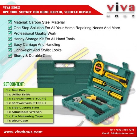 Viva Houz, 8pc Tool Set/Kit For Home Repair, Vehicle Repair