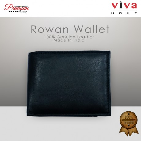 Viva Houz Rowan Mens Handmade 100% Genuine Leather Wallet, Credit/ID Card Holder with Coin / SD Card Pocket (Black)