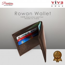 Viva Houz Rowan Mens Handmade 100% Genuine Leather Wallet, Credit/ID Card Holder with Coin / SD Card Pocket (Brown)