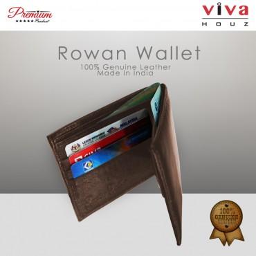 Viva Houz Rowan Mens Handmade 100% Genuine Leather Wallet, Credit/ID Card Holder with Coin / SD Card Pocket (Brown)