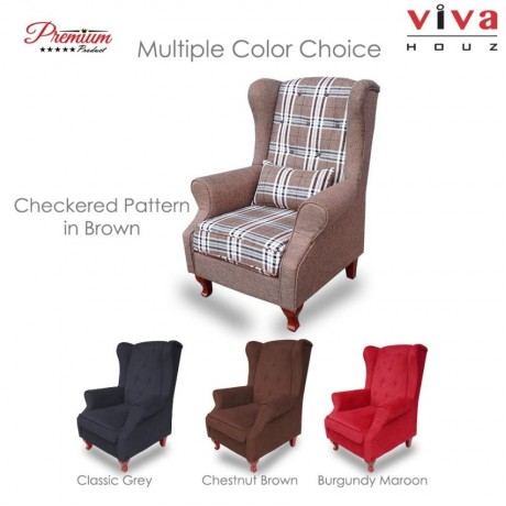 Viva Houz Medina Wing Chair / Sofa / Arm Chair Full Fabric Removable Seat Cover (Checkered Pattern In Brown)
