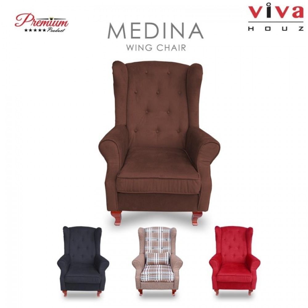 Viva Houz Medina Wing Chair / Sofa / Arm Chair Full Fabric Removable Seat Cover (Chestnut Brown)