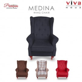Viva Houz Medina Wing Chair / Sofa / Arm Chair Full Fabric Removable Seat Cover (Classic Grey)