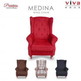 Viva Houz Medina Wing Chair / Sofa / Arm Chair Full Fabric Removable Seat Cover (Burgundy Maroon)