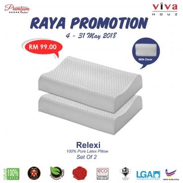 Viva Houz Relexi (OEM), 100% Guaranteed Pure Latex Pillow, Made in Malaysia, Sirim Certified, Contour Shape (Set of 2)